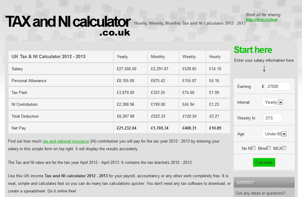 Hourly Weekly And Monthly Tax And Ni Calculator